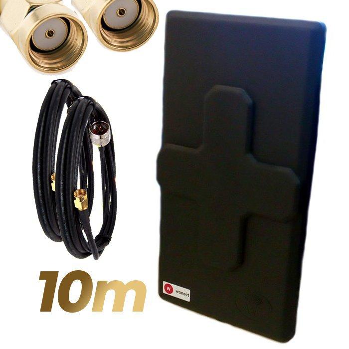 Antena WiFi Panel 50dBi Doble Salida Dual MiMo Alta potencia 10 metros cable Negra Wonect