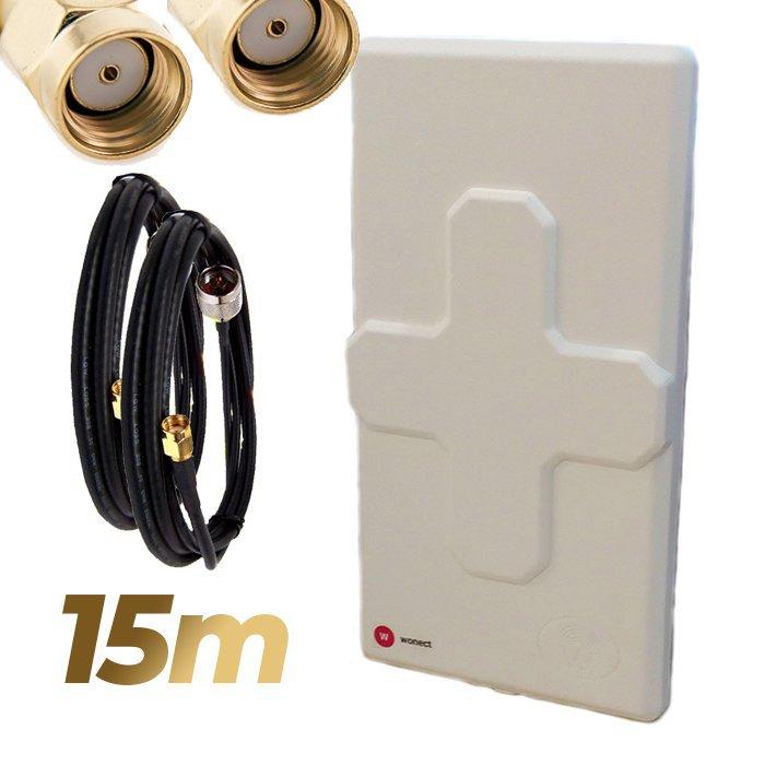 Antena WiFi Panel 50dBi Doble Salida Dual MiMo Alta potencia 15 metros cable Blanca Wonect