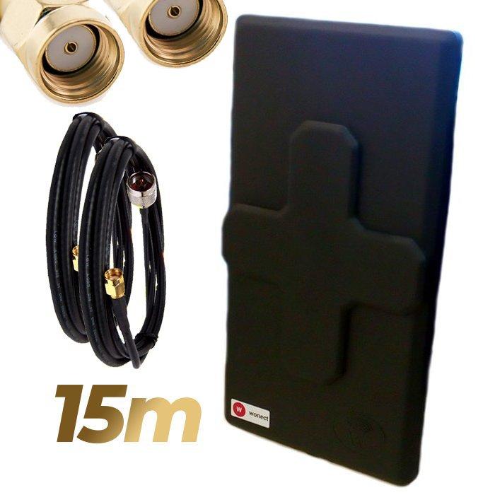 Antena WiFi Panel 50dBi Doble Salida Dual MiMo Alta potencia 15 metros cable Negra Wonect