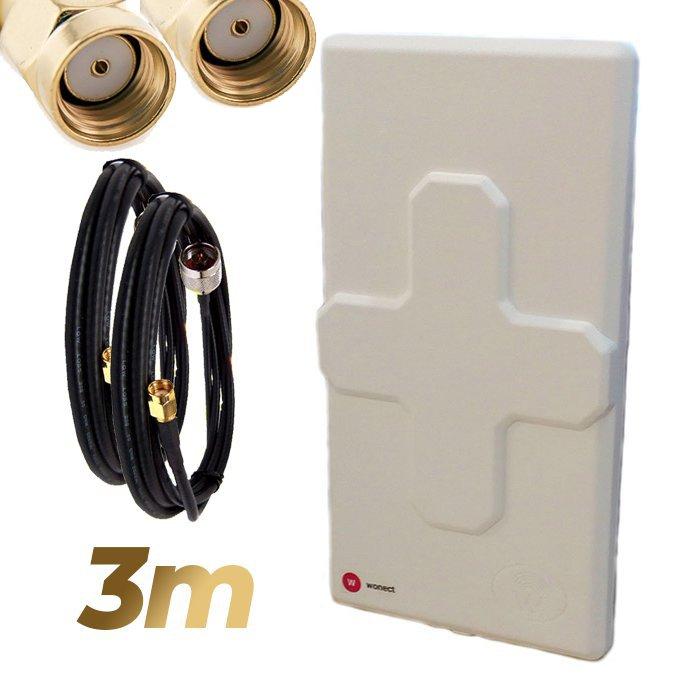 Antena WiFi Panel 50dBi Doble Salida Dual MiMo Alta potencia 3 metros cable Blanca Wonect