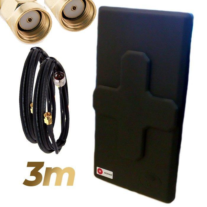 Antena WiFi Panel 50dBi Doble Salida Dual MiMo Alta potencia 3 metros cable Negra Wonect