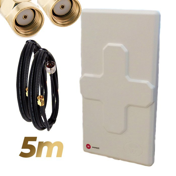 Antena WiFi Panel 50dBi Doble Salida Dual MiMo Alta potencia 5 metros cable Blanca Wonect