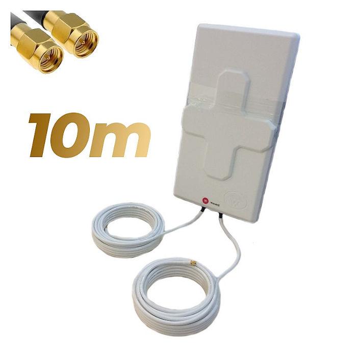 Antena 4G Wonect 50dBi Blanca Exterior 10 metros Cable Conector SMA Macho Integrado