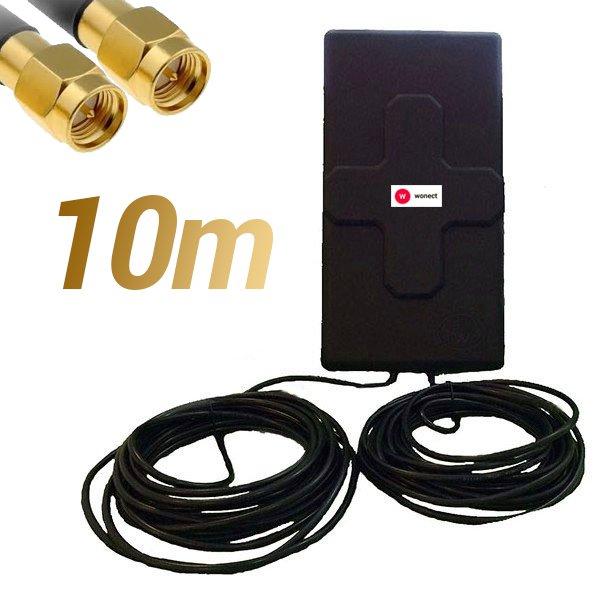 Antena 4G Wonect 50dBi Negra Exterior 10 metros Cable Conector SMA Macho Integrado