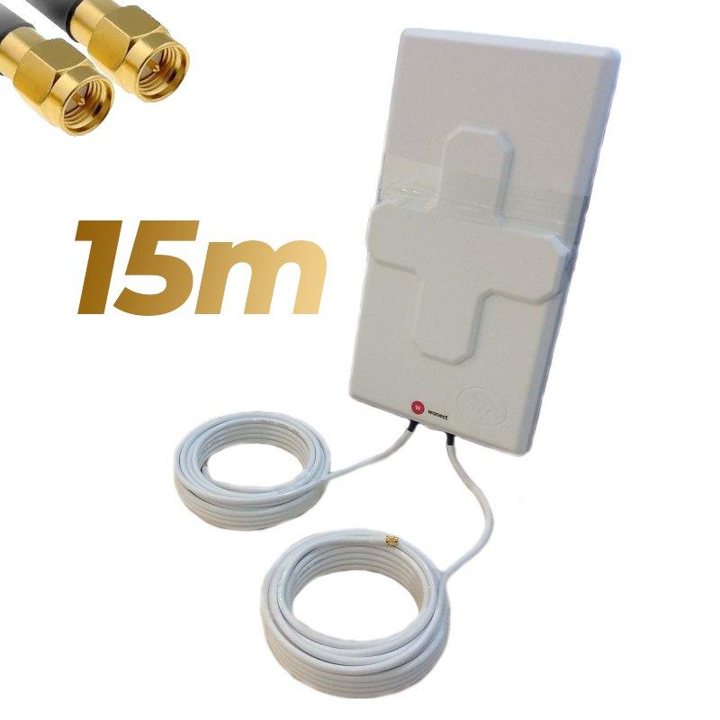 Antena 4G Wonect 50dBi Blanca Exterior 15 metros Cable Conector SMA Macho Integrado