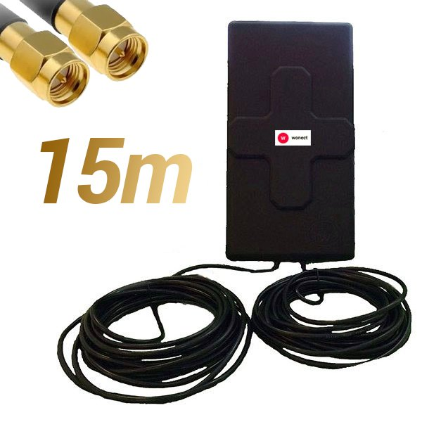 Antena 4G Wonect 50dBi Negra Exterior 15 metros Cable Conector SMA Macho Integrado