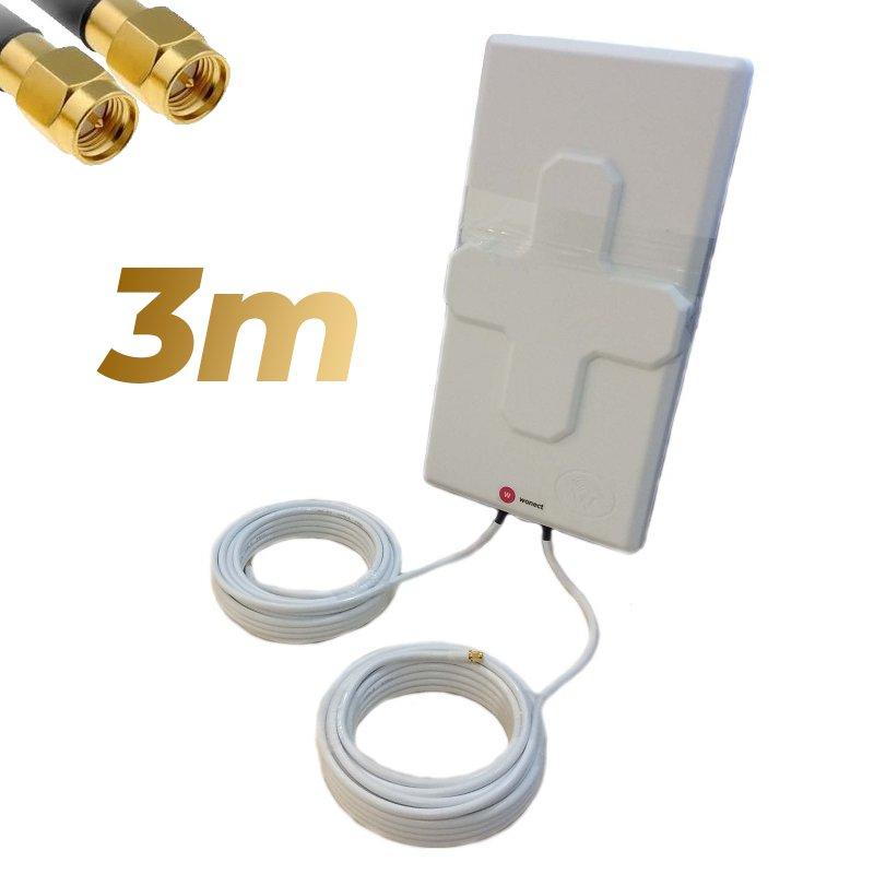 Antena 4G Wonect 50dBi Blanca Exterior 3 metros Cable Conector SMA Macho Integrado