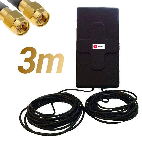 Antena 4G Wonect 50dBi Negra Exterior 3 metros Cable Conector SMA Macho Integrado