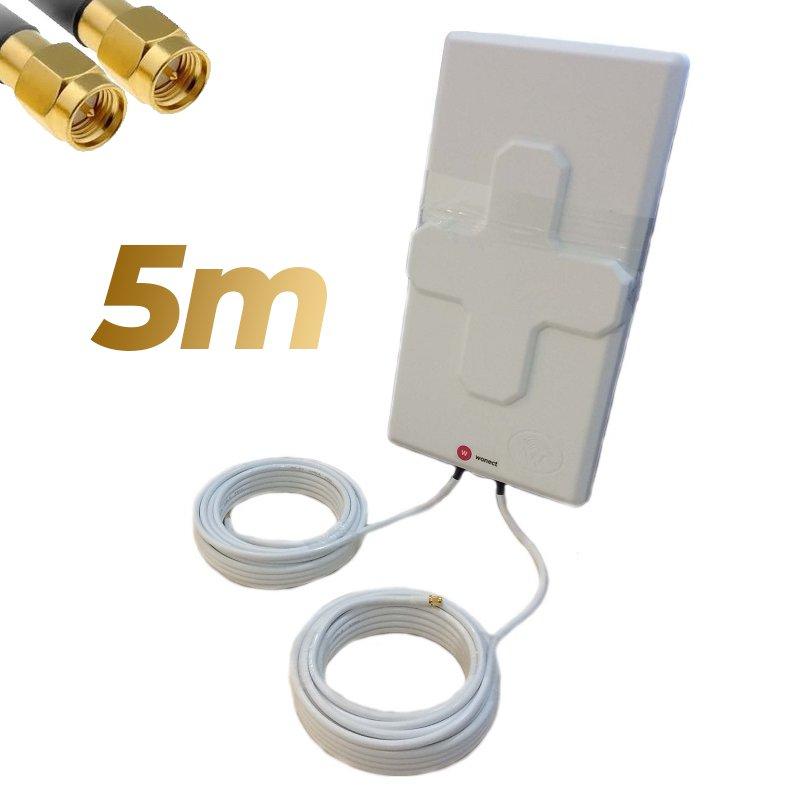 Antena 4G Wonect 50dBi Blanca Exterior 5 metros Cable Conector SMA Macho Integrado