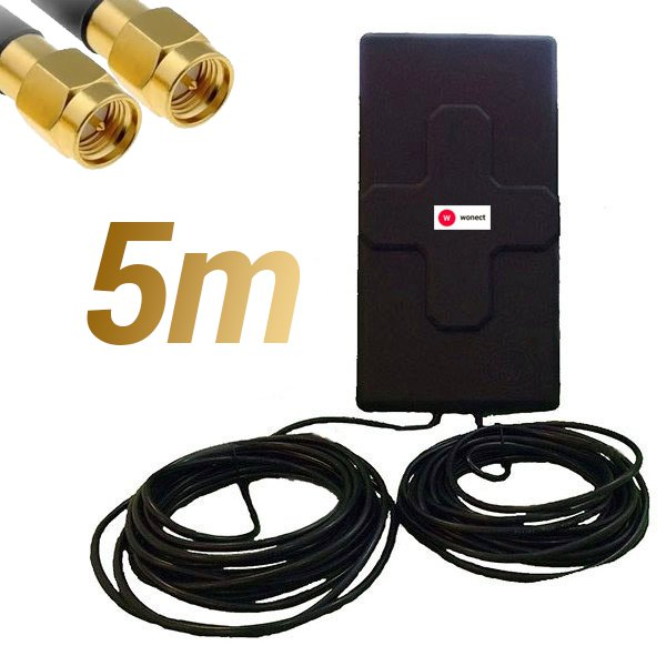 Antena 4G Wonect 50dBi Negra Exterior 5 metros Cable Conector SMA Macho Integrado