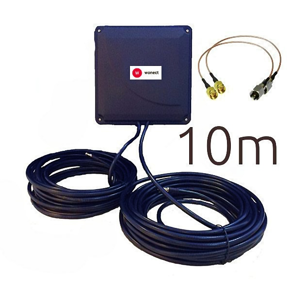 Wonect PANEL 4G 44DBI 10M FME SMA Panel 4G 44dBi 10m FME SMA WONECT Antena 4G 44dbi LTE FME UMTS 3G exterior panel negra cable 10 metros con conector SMA