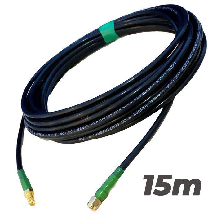 Cable Pigtail Alargador SMA Macho SMA Hembra 15 metros Antenas 4G