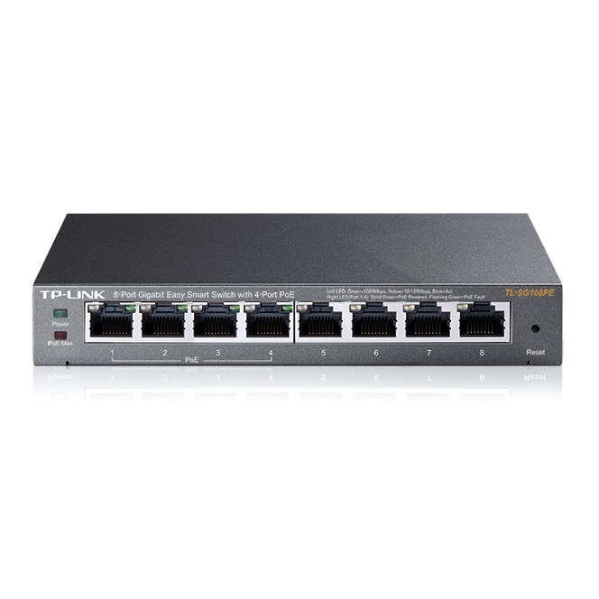 Tp Link TL SG108PE Switch Easy Smart 8 puertos Gigabit y 4 puertos PoE