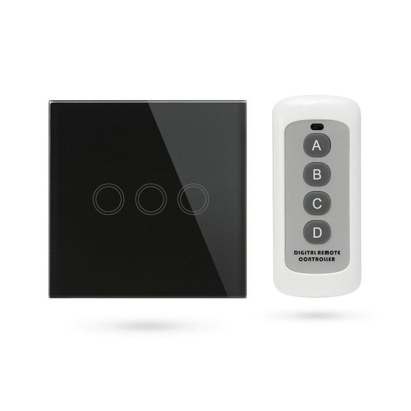 Interruptor mando distancia APP Pulsador 3 Contactos Negro TSE3 B