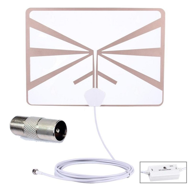 Antena TV TDT Amplificada 20dBi UHF Adhesiva ventana Interior Conector IEC Outlet