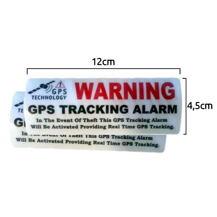 Pegatina Localizador GPS adhesiva interior Cristal Aviso Ingles Warning