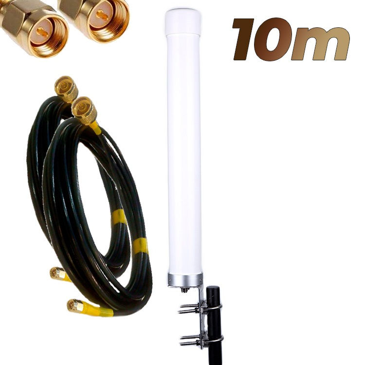 Antena 4G Wonect Omni 22dBi LTE Exterior MiMo Conectores N Pigtails 10 metros SMA Macho