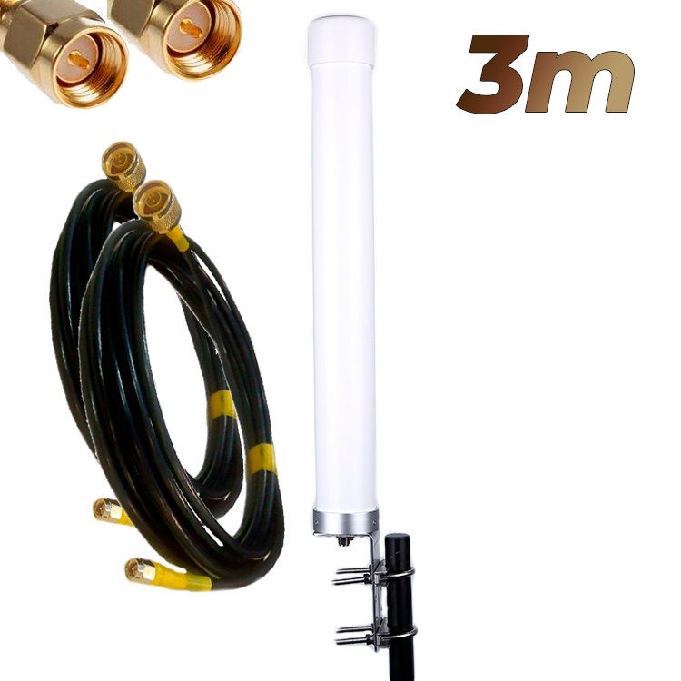 Antena 4G Wonect Omni 22dBi LTE Exterior MiMo Conectores N Pigtails 3 metros SMA Macho