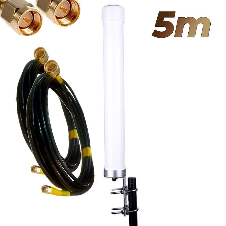 Antena 4G Wonect Omni 22dBi LTE Exterior MiMo Conectores N Pigtails 5 metros SMA Macho