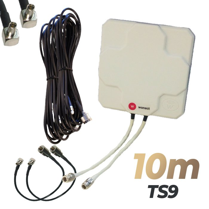 Antena 4G Wonect Panel 46dBi Blanca Direccional Conector N Cables 10 metros TS9