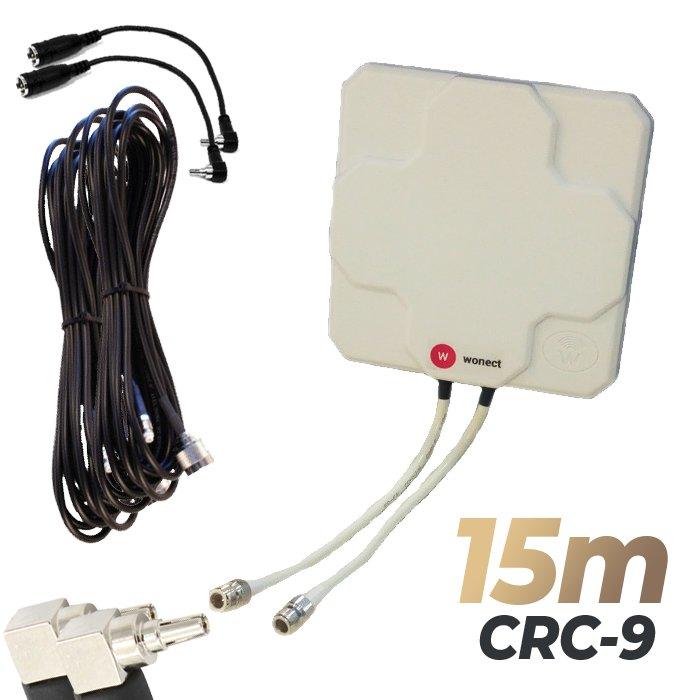 Antena 4G Wonect Panel 46dBi Blanca Direccional Conector N Cables 15 metros CRC9