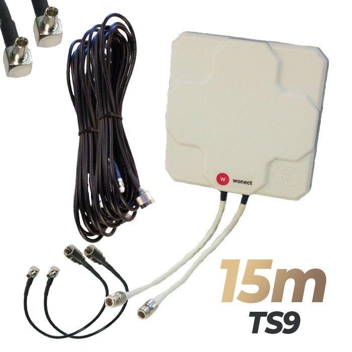 Antena 4G Wonect Panel 46dBi Blanca Direccional Conector N Cables 15 metros TS9