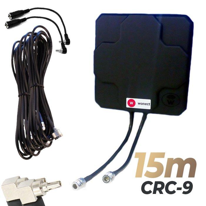 Antena 4G Wonect Panel 46dBi Negra Direccional Conector N Cables 15 metros CRC9