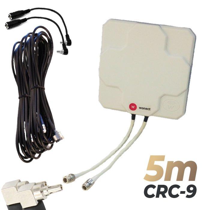 Antena 4G Wonect Panel 46dBi Blanca Direccional Conector N Cables 5 metros CRC9