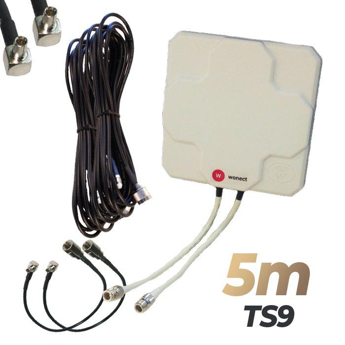 Antena 4G Wonect Panel 46dBi Blanca Direccional Conector N Cables 5 metros TS9