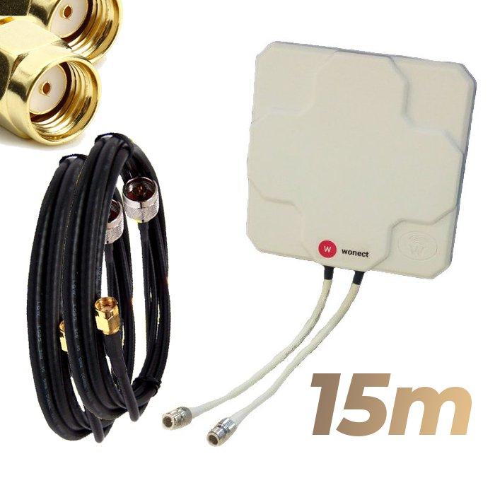 Antena WiFi Panel 46dBi Doble Salida Dual MiMo Alta potencia 15 metros cable Blanca Wonect