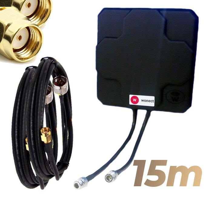 Antena WiFi Panel 46dBi Doble Salida Dual MiMo Alta potencia 15 metros cable Negra Wonect