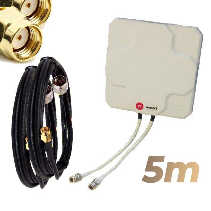 Antena WiFi Panel 46dBi Doble Salida Dual MiMo Alta potencia 5 metros cable Blanca Wonect