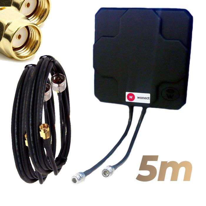 Antena WiFi Panel 46dBi Doble Salida Dual MiMo Alta potencia 5 metros cable Negra Wonect