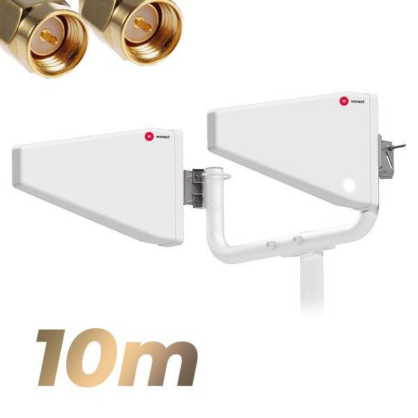 Antena 4G Wonect Yagi Log 22dBi LTE Exterior 10 metros cable SMA Macho Largo Alcance