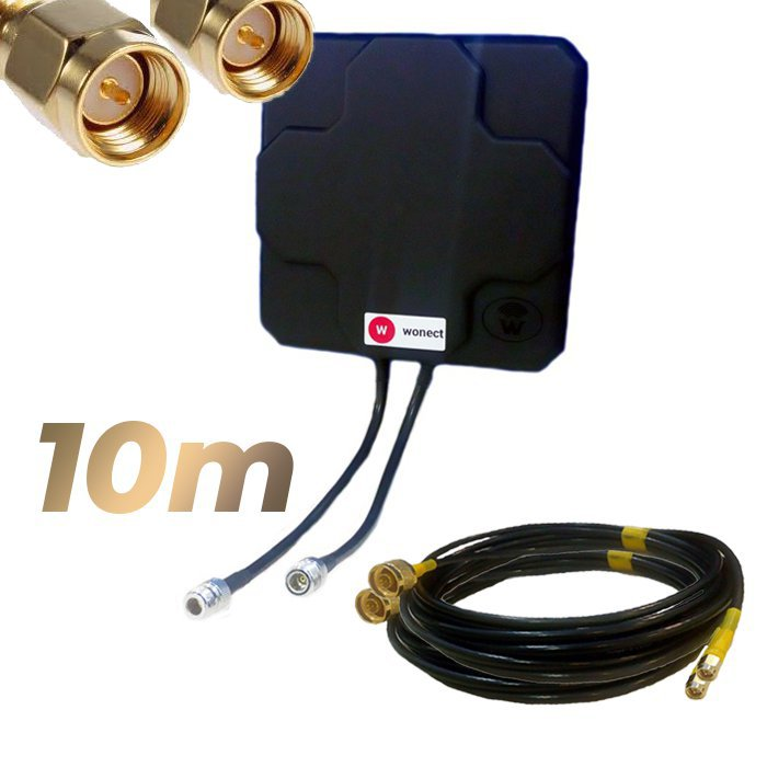 Antena 4G Wonect Panel 46dBi Negra Direccional Conector N Cables 10 metros SMA