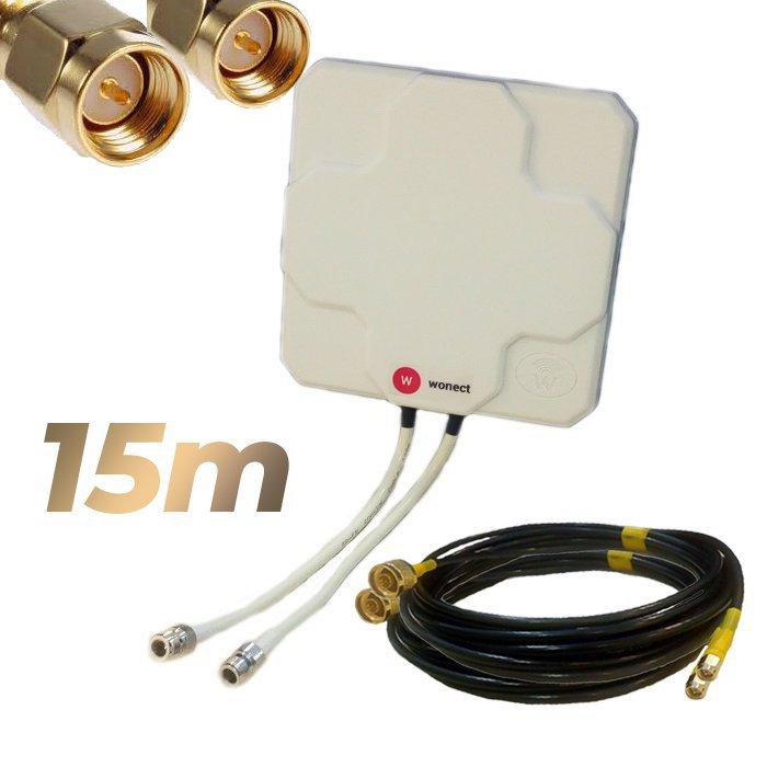 Antena 4G Wonect Panel 46dBi Blanca Direccional Conector N Cables 15 metros SMA