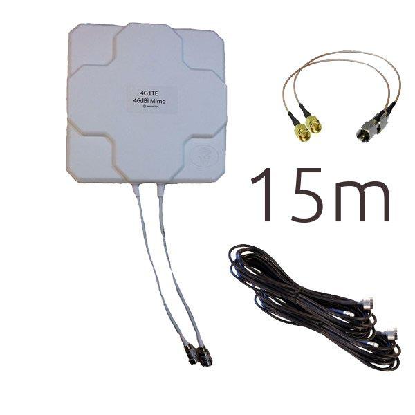 Antenas 4G Wonect 4G 46dBi N 15m SMA Blanca