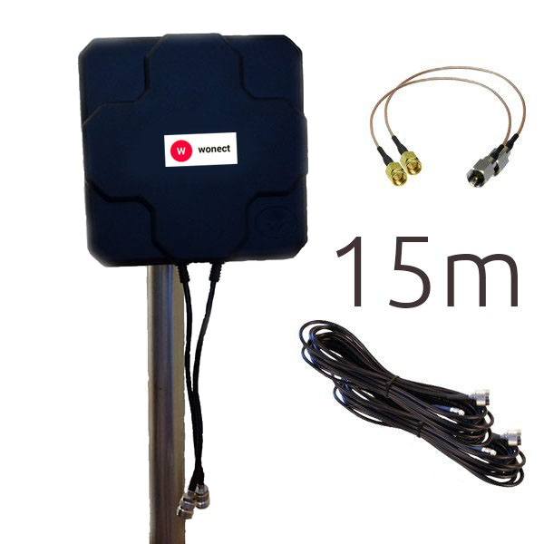 WONECT 4G 46DBI N 15M SMA Antena 4G 46dbi LTE UMTS 3G exterior con conectores SMA multibanda 15 Metros N Negra