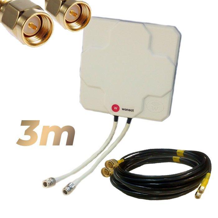Antena 4G Wonect Panel 46dBi Blanca Direccional Conector N Cables 3 metros SMA