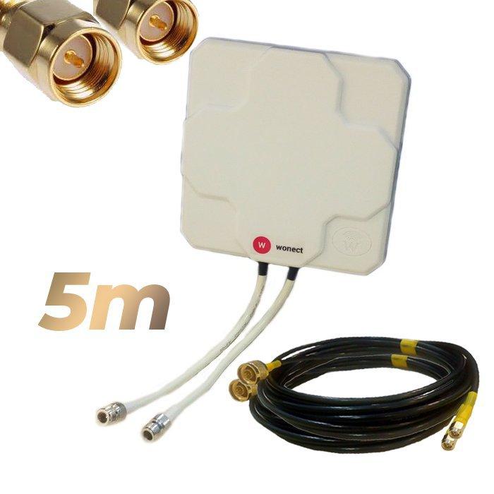 Antena 4G Wonect Panel 46dBi Blanca Direccional Conector N Cables 5 metros SMA