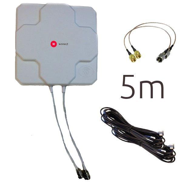 WONECT 4G 46DBI N 5M SMA BLANCA Antena 4G 46dbi LTE UMTS 3G exterior con conectores SMA multibanda 5Metros N Blanca