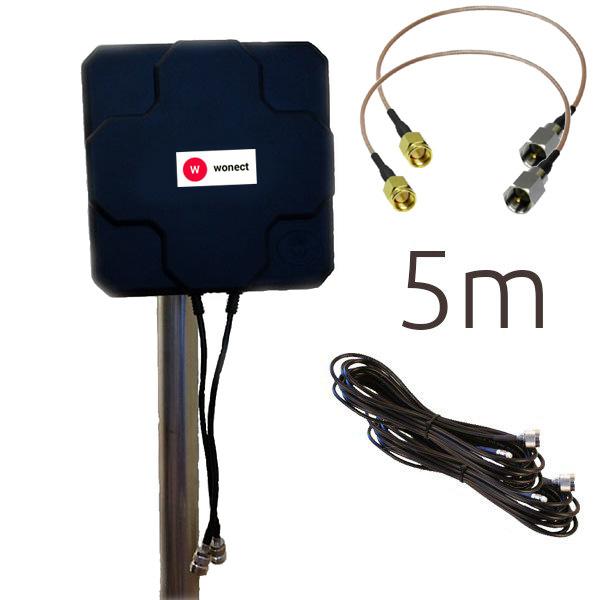 WONECT 4G 46DBI N 5M SMA Antena 4G 46dbi LTE UMTS 3G exterior con conectores SMA multibanda 5Metros N Negra