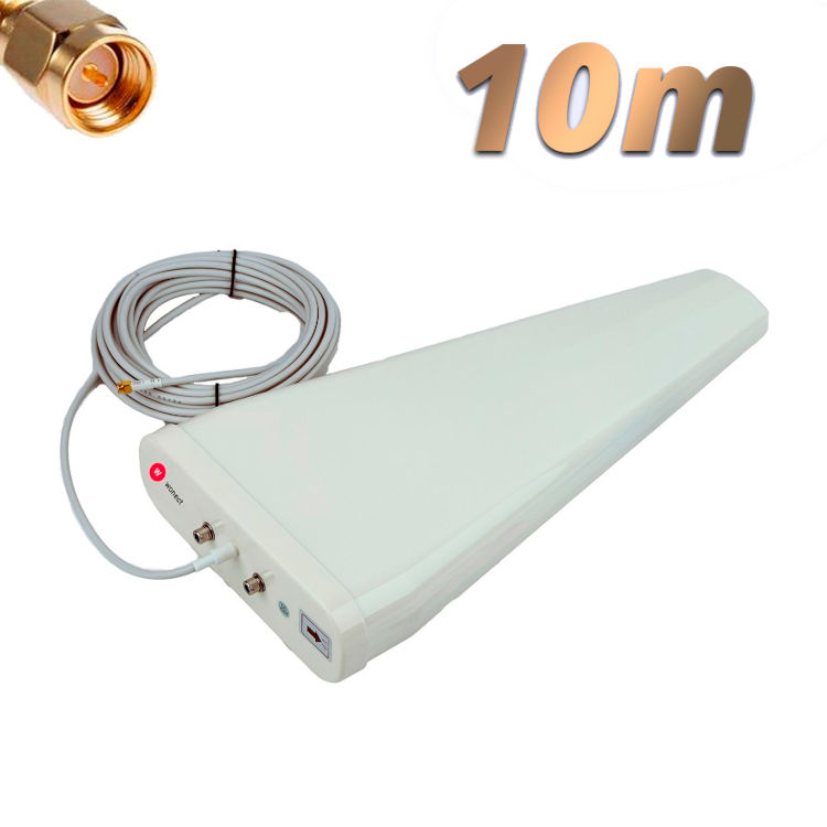 Antena 4G Wonect Yagi Log 11dBi 10m SMA Macho Largo Alcance Reacondicionada