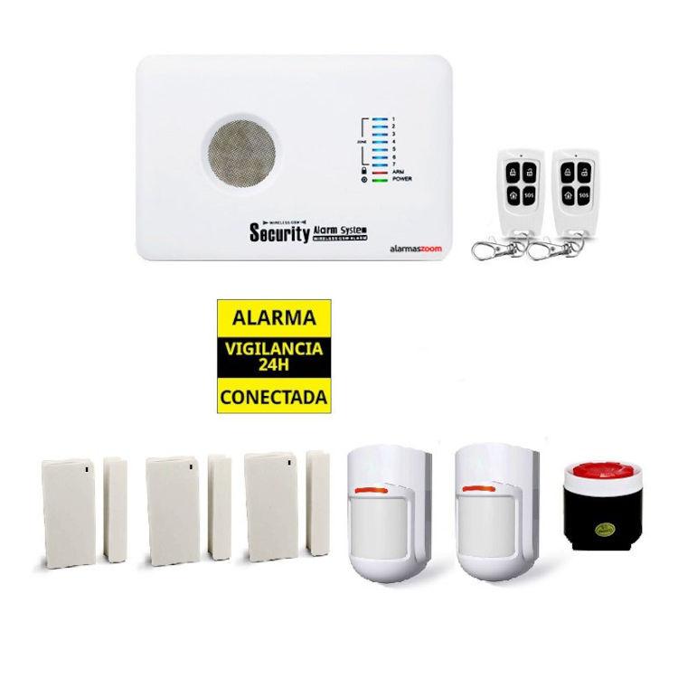 alarmas-zoom AZ018 G10C 6 O ALARMA CASA HOGAR NEGOCIO GSM BARATA CON 3  Y 2 DETECTORES CON ANTENA OCULTA