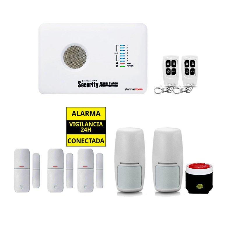 Kit Alarma Hogar AZ018 GSM 3 Detectores apertura puertas 2 Sensores movimiento