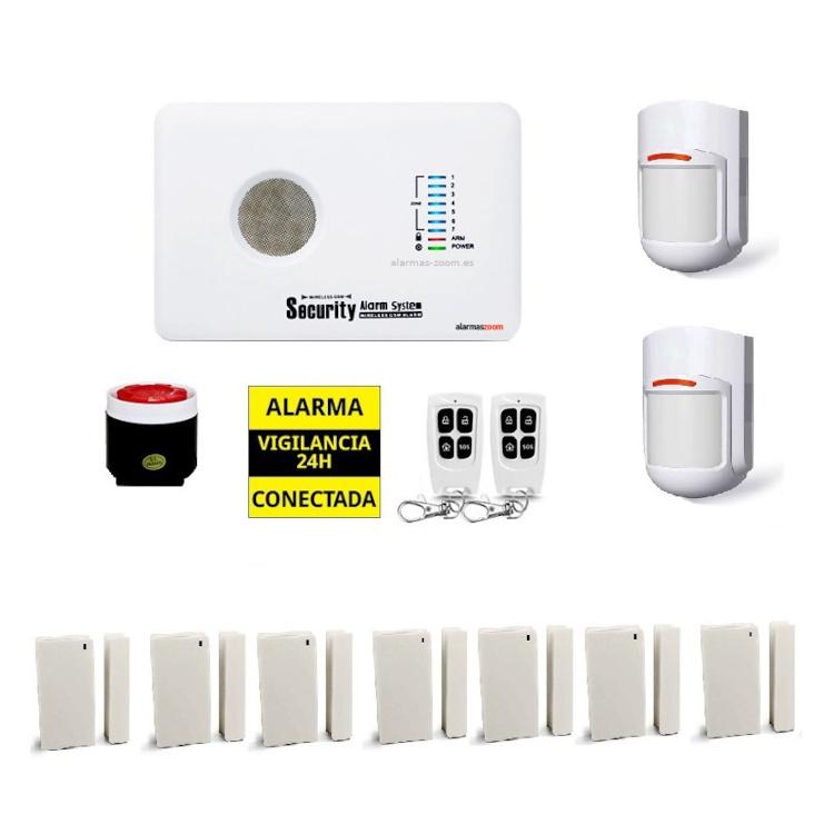 Kit alarma sin cuotas 7 Detectores apertura puertas AZ018 12 O