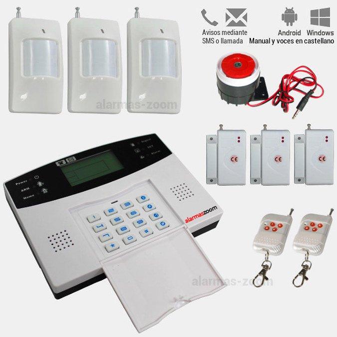 Alarma Hogar AZ009 GSM con teclado Castellano 3 Detectores apertura puertas y movimiento