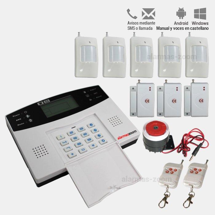 Alarma Hogar AZ009 GSM con teclado Castellano 5 Detectores movimiento interior