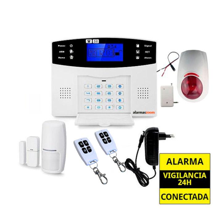 alarmas-zoom AZ017 13 Alarma Hogar con voces en Espanol Castellano GSM y sirena inalambrica