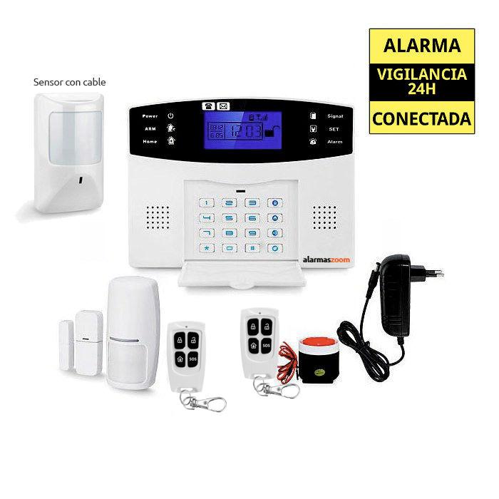 alarmas-zoom AZ017 27 Kit alarma con 1 sensor movimiento conectado por cable a central alarma